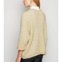 Urban Bliss Gold Metallic Fluffy Knit Cardigan New Look