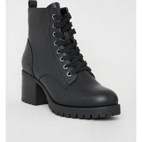Black Leather-Look Chunky Heel Biker Boots New Look Vegan