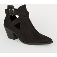 Black Suedette Cut Out Western Shoe Boots New Look Vegan