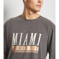 Grey Overdyed Miami Slogan Long Sleeve T-Shirt New Look
