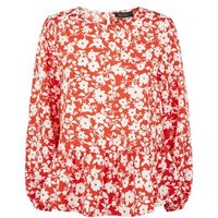 Red Floral Peplum Blouse New Look