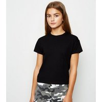 Girls Black Cotton T-Shirt New Look