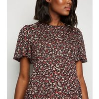 Maternity Black Floral Tie Back Peplum Top New Look