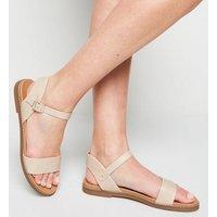 Cream Leather-Look Footbed Sandals New Look Vegan