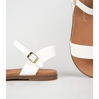 White Faux Snake Footbed Sandals New Look