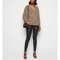 Brown Leopard Print Long Sleeve Blouse New Look