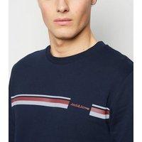 Jack & Jones Blue Stripe Crew Sweatshirt New Look