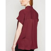 Burgundy Roll Sleeve Pocket Shirt New Look