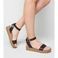 Black Leather-Look Strap Flatform Footbed Sandals New Look Vegan