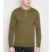 Khaki Zip Collar Long Sleeve Polo Shirt New Look