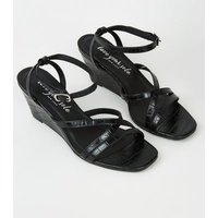 Black Faux Croc Strappy Wedges New Look