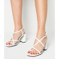 White Faux Snake Strappy Flared Block Heels New Look