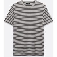 Mens Pale Grey Stripe Short Sleeve T-Shirt New Look