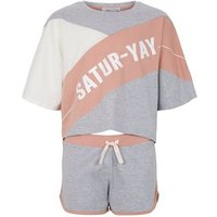 Girls Light Grey Satur-Yay Colour Block Slogan Pyjama Set New Look