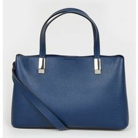 Navy Leather-Look Mini Tote Bag New Look Vegan
