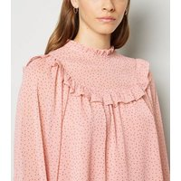 Bright Pink Spot Frill Trim Long Sleeve Blouse New Look