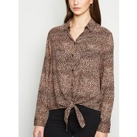 Brown Leopard Print Tie Front Shirt New Look