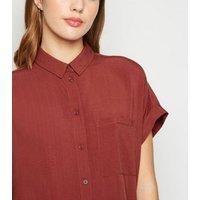 Dark Red Pocket Front Short Sleeve Shirt New Look