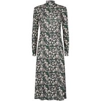 Green Ditsy Floral Puff Sleeve Midi Dress New Look
