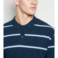 Navy Stripe Short Sleeve Polo Shirt New Look