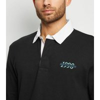Black 1990 Embroidered Slogan Rugby Shirt New Look