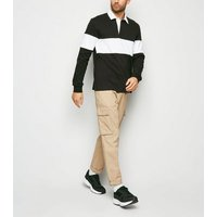 Black Stripe Colour Block Rugby Shirt New Look