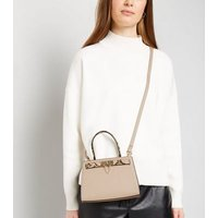 Pale Pink Faux Snake Panel Tote Bag New Look
