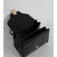 Black Faux Croc Top Handle Tote Bag New Look Vegan