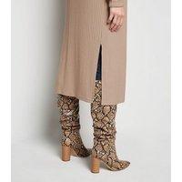 Camel Ribbed Fine Knit Midi Cardigan New Look