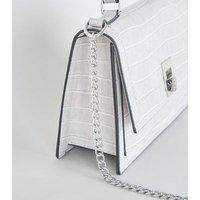 Grey Faux Croc Chain Shoulder Bag New Look Vegan