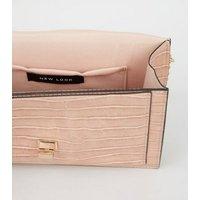 Pink Faux Croc Chain Shoulder Bag New Look Vegan