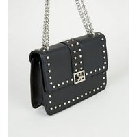 Black Faux Pearl Stud Shoulder Bag New Look