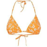 Yellow Floral Triangle Bikini Top New Look
