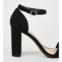 Wide Fit Black Suedette Ankle Strap Block Heels New Look Vegan