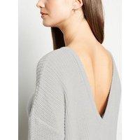 NA-KD Grey V Back Sweatshirt New Look