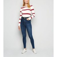 Apricot Cream Ribbed Triple Stripe Jumper New Look