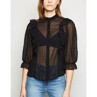 Black Chiffon Spot Frill Trim Shirt New Look