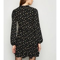 Black Ditsy Floral Mini Smock Dress New Look