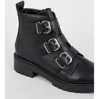 Black Leather-Look 3 Buckle Chunky Boots New Look Vegan