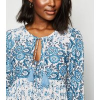 Blue Vanilla Pale Blue Floral Midi Dress New Look