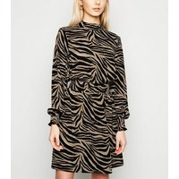 Brown Tiger Print Long Sleeve Mini Dress New Look