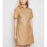 Camel Coated Leather-Look Shirt Dress New Look