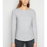 Grey Marl Long Sleeve Crew T-Shirt New Look