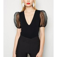 Black Organza Puff Sleeve Bodysuit New Look
