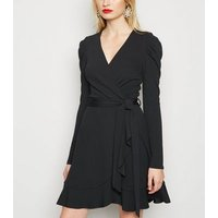 Black Puff Shoulder Mini Wrap Dress New Look