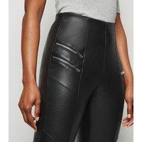 Black Coated Leather-Look Biker Leggings New Look Vegan