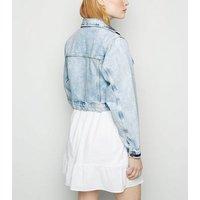 Pale Blue Cropped Denim Jacket New Look