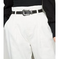 Off White High Waist Belted Jeans New Look