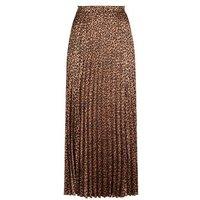Tall Brown Satin Leopard Print Pleated Midi Skirt New Look