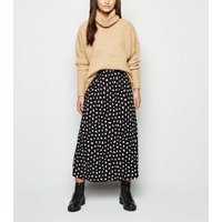 Petite Black Contrast Spot Midi Skirt New Look